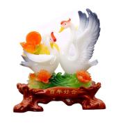 Elegant Vintage Resin Swan Couple Carving Fine Feng Shui Crafts Ornaments Office Home Decorations Wedding Gift Figurine Sculpture Art,B:30.5x14.5x35cm