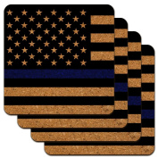 Thin Blue Line American Flag Low Profile Novelty Cork Coaster Set