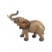 Comfy Hour 20cm Decorative Polyresin Elephant Sculpture Elephant Figurine, Wood Grain Smooth Finish