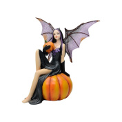 Comfy Hour 15cm Dark Fairy Witch Holding A Pumpkin Sits On Pumpkin, Polyresin Figurine, Halloween Theme Gift