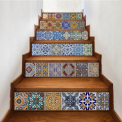 yazi Peel and Stick Tile Backsplash Stair Riser Decals DIY Tile Decals Mexican Traditional Talavera Waterproof Home Decor StairCase Decal Stair Mural Decals 18cm W x 100cm L