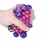 Aquiver Stress Balls Funny Squishy Mesh Ball Grape Squeeze Stress Reliever Novelty Toy