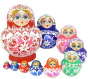 VStoy Beautiful Wooden Russian Nesting Doll Toy Russian Doll Wishing Dolls Handmade . 10pcs