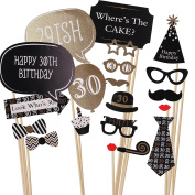 MultiWare 20pcs 30th Birthday Black Gold Birthday Party Photo Booth Props Decoration Favour