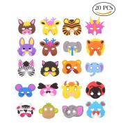 CCINEE 20 Kids Foam Animal Masks for Party Bag Fillers