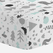 Carousel Designs Icy Mint and Silver Grey Baby Woodland Crib Sheet - Organic 100% Cotton Fitted Crib Sheet - Made in the USA