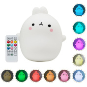 Silicone LED Night Light Eco-friendly 10-colours Switching Multicolor Soft Baby Night lamp USB Rechargeable Portable Rabbit GIFT Night Lamp for Girlfriend Adult Kids Babies Children Bedroom and Nursery