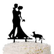 Bride & Groom Wedding Cake Topper for Cat Lovers, Black Acrylic Toppers