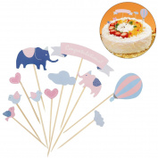 LUOEM Creative Elephant Design Happy Birthday Cupcake Picks Food Picks for Kids Birthday Party Baby Shower
