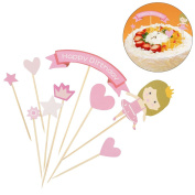 LUOEM Happy Birthday Cake Toppers Cupcake Picks Food Picks for Kids Birthday Party Baby Shower