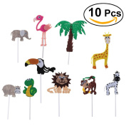 LUOEM 10pcs Kids Birthday Cake Toppers Jungle Theme Cake Picks for Baby Shower Party Events