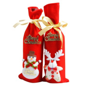 Anshinto Red Wine Bottle Cover Bags, Christmas Party Santa Claus