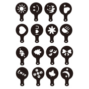 16 Pcs Cappuccino Coffee Stencils Latte Art Template Strew Flowers Pad Duster Spray Coffee Accessories