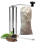 Hand Coffee Grinder - Manual Burr Coffee Grinder with Stainless Steel Body - Conical Ceramic Manual Coffee Mill - Carrying Linen Pouch and Coffee Measured Spoon Included