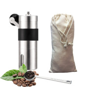 Manual Coffee Grinder, Manual Burr Coffee Grinder with Stainless Steel Body, Conical Ceramic Burr Coffee Mill with Non-Slip Silicone Ring, Linen Pouch and Measured Spoon Included