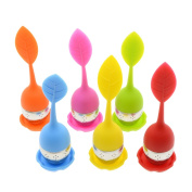 Saim 6 Pcs Silicone Tea Strainers Infusers with Drip Tray Stainless Steel Ball Infusers for Loose Grain Tea Cups, Teapots
