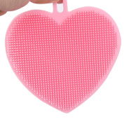 Food Grade Silicone Dish Washing Sponge Bowl Scrubber, Heart Shape Silicone Dish Dishwashing Brush Scrubber Multifunction Home Kitchen Wash Antibacterial Clean Tools by Staron