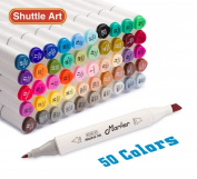 Shuttle Art 50 Colours Dual Tip Art Markers,Permanent Alcohol Marker Pens Highlighters with Case Perfect for Illustration Adult Colouring Sketching and Card Making