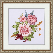 Ribbon Embroidery Kit DIY Wall Decor 3D Painting Stamp Embroidery Kit Needle Work (No Frame) X5008