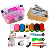 Mini Handheld Sewing Machine Kit Small Craft Sewing supplies with Organiser Including Needles Thread Measuring Tape scissors for Adults Kids Girls College Students with Travel Container Colour Random