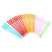 Pengxiaomei Plastic Sewing Needles, 30 Pieces Hand Sewing Yarn Darning Tapestry Needles, Colourful Lacing Needles