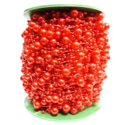 Ozzptuu 60m 8mm+3mm ABS Faux Pearls Beads String by the Roll for Party Garland Flowers Wedding Baby Shower Centrepieces Bridal DIY Decoration