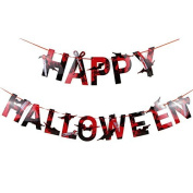 Happy Halloween Banner Paper Garlands Wall Hanging Decor for Home School Office Party Decorations