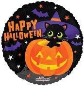 Halloween Balloons 46cm Happy Halloween Cat inside Pumpkin