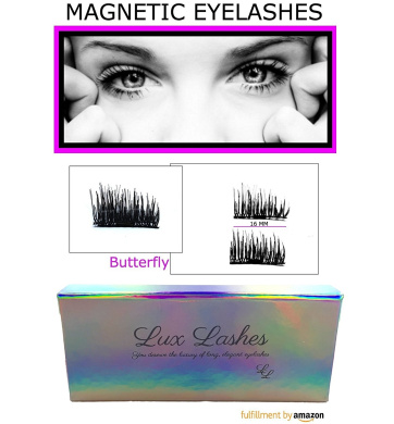 Magnetic Eyelashes by Lux Lashes   3D Reusable False Magnet Eye Lash Enhancer for Volume, Growth & Length   Natural Fibre Lashes, Cruelty Free   Best All Ages & Eye Lid Sizes (Butterfly)