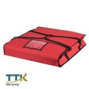 Tabletop king 60cm x 60cm x 13cm Red Soft-Sided Nylon Insulated Pizza Delivery Bag - Holds Up To (2) 50cm or 60cm Pizza Boxes or (1) 60cm Pizza Box