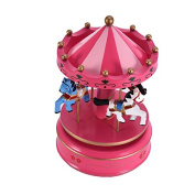 4 Horse Wooden Carousel Music Box Vintage Windup Merrygoround Toy Artware Art Craft Table Dacoration Christmas Birthday Wedding Gift for Girls Kids Children - Rosy