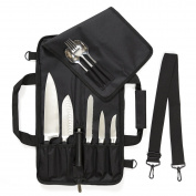 Chef Knife Roll Bag (6 slots) is Padded and Holds 5 Knives PLUS a Protected Pouch for Your Knife Steel! Our Durable Knife Carrier Includes Shoulder Strap, Handle, and Business Card Holder.