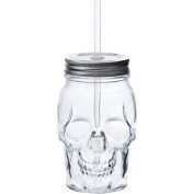Skull Shaped Translucent Glass Mason Jar Sipper w/Straw-Lid 470ml…