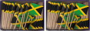 2 Boxes of Mini Jamaica Toothpick Flags, 200 Small Jamaican Flag Toothpicks or Cocktail Sticks & Picks