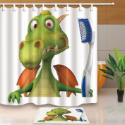 KOTOM 3D Cartoon Decor, Cute Dinosaur Brush Teeth for Kids 180cm X 180cm Mildew Resistant Polyester Fabric Shower Curtain Suit With 40cm x 60cm Flannel Non-Slip Floor Doormat Bath Rugs, Green
