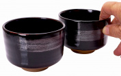 Spiceberry Home Black Porcelain Kobachi Bowl with Grey Brushstroke, 11cm x 8.3cm , Set Of Two