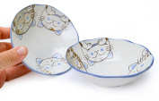 Spiceberry Home Porcelain Bowls with Cute Cat Design 17cm , Set Of Two