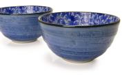 Spiceberry Home Porcelain Bowls 14cm Blue with Blue Nochigo Design, Set Of Two