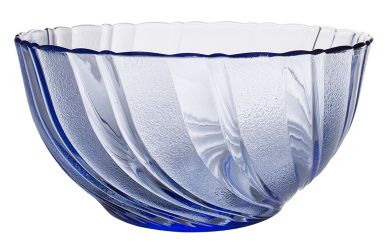 Royal Blue Vertical Curved Lines Glass Mixing and Serving Salad Bowl, 23cm Dia