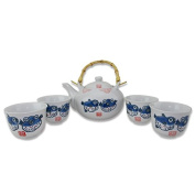 Japanese Antique Light Blue and White Fish Design Teapot set with 4 Tea Cups