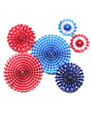 Tissue Paper Fan Decorations Party Paper Fan Decorations with Paperclips for Door Room Wall Decor and Outdoor Set of 6