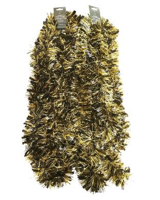 Halloween Tinsel Garland Decoration 5.5m (Black & Gold)