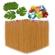 Moana Birthday Party Supplies. Hawaiian Decorations Bundle of 1 Beige Grass Table Skirt + 24 Hibiscus Flowers + 12 Tropical Leaves. Hula, Luau, Maui, Hawaiian, Moana Themed Party Decorations Set