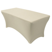 Your Chair Covers - Rectangular Fitted Stretch Spandex Table Cover, Ivory, 1.8m L