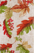 Fall Leaves, Berries and Acorns Vinyl Flannel Back Tablecloth