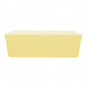 Your Chair Covers - 2.4m Fitted Polyester Tablecloth Rectangular Pastel Yellow