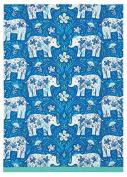 Sarah Watts Blue Teal Floral Elephant Delftware Print Designer Kitchen Dish Tea Towel Dishcloth