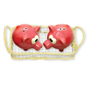 Adorable Little Piggys Salt and Pepper Shakers with Miniature Basket