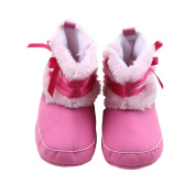 pinnacleT1 Girls' Snow Boots Cute Bowknot Toddler Boots Newborn Anti-slip Soft Bottom Shoes for 8-18 Month Baby size 11.5cm