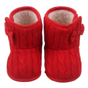 pinnacleT1 Baby Shoes Bowknot Knitted Baby Cotton Shoes Soft Bottom Non-slip Shoes Winter Infant Newborn Boots size 12.5cm
